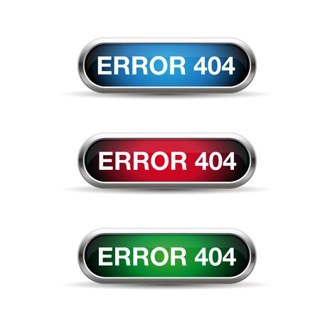 ooops: Error 404 web button set Illustration