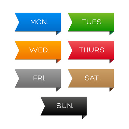 weekly: Weekly calendar with colorful ribbons