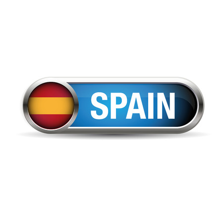 spanish flag: The Spanish flag in the form of a glossy icon. Illustration