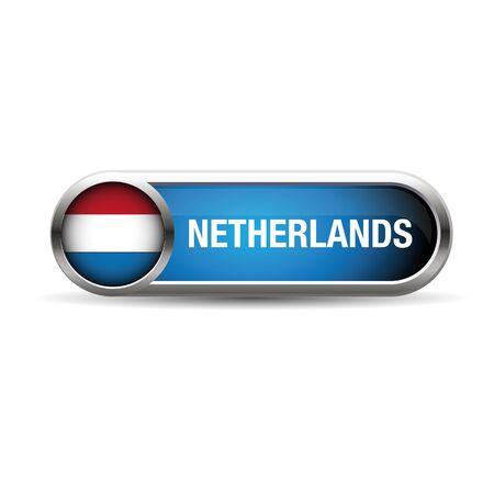 netherlands flag: netherlands flag gel metal button