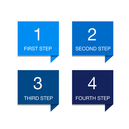 four in one: One two three four - colorful flat progress icons