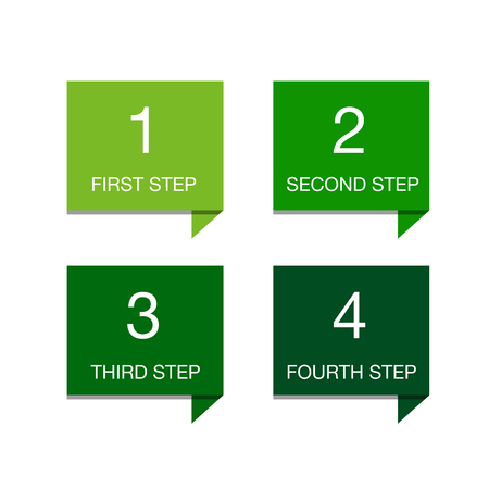 One two three four - colorful flat progress icons