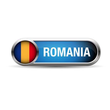 romania flag: romania flag gel metal button