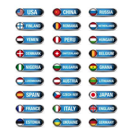 republic of peru: World flags set vector