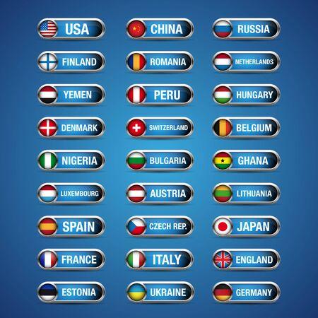 World flags set vector Vector