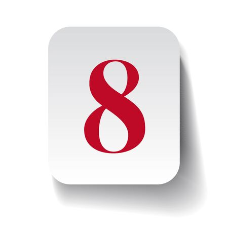 eight: Number eight label