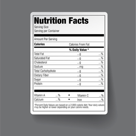 栄養食品表示  イラスト・ベクター素材