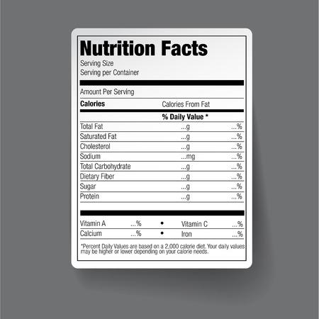 Valeur nutritive d'étiquetage alimentaire Vecteurs