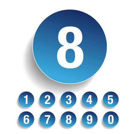 Number set vector blue Ilustrace