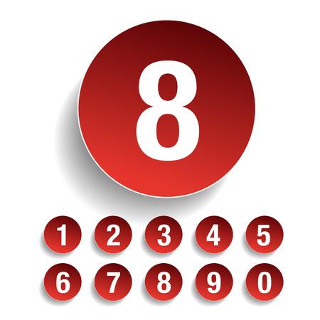 Number set vector red Ilustrace