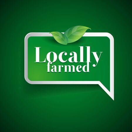 Farm food label, badge or seal Illustration