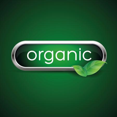 Organic label green button Ilustrace