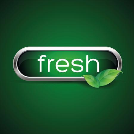 Fresh label button green Illustration