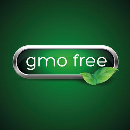 gmo: GMO free label or button Illustration