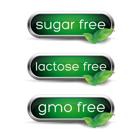 Healthy labels - Sugar, lactose and gmo free Illustration