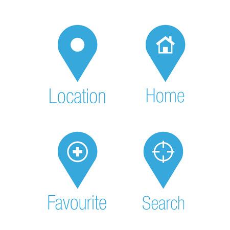 Locatie en bestemming iconen Stock Illustratie