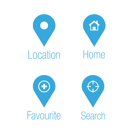 Location and destination icons Illustration