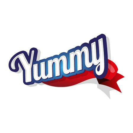 yummy: Yummy label lettering Illustration