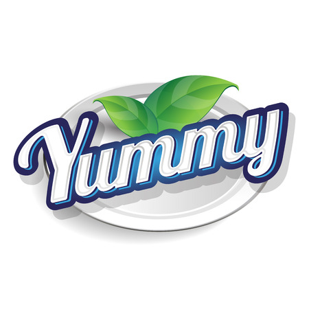 Yummy label lettering Ilustrace