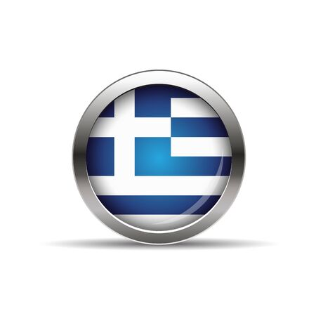 greece flag: Greece flag button with shadow Illustration