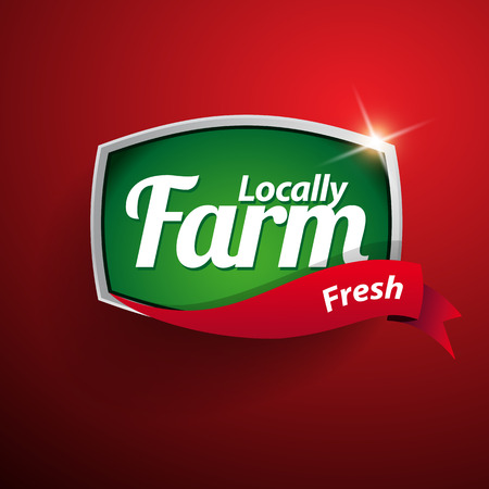 Farm food label, badge or seal Ilustrace