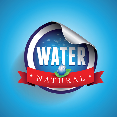 mineral water bottles: Drinking and Water Label vector Illustration