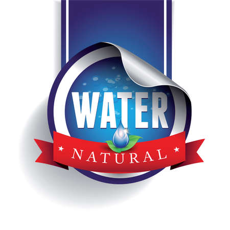 Drinking and Water Label vector Illustration