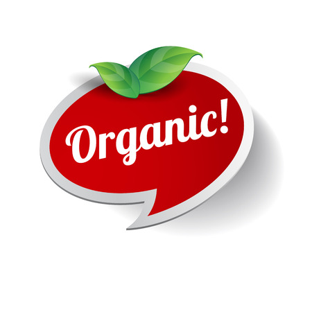 Organic label with leaf vector Illustration