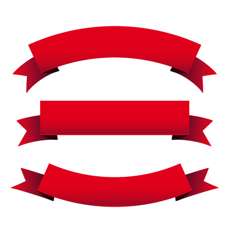 curved ribbon: Red ribbon set