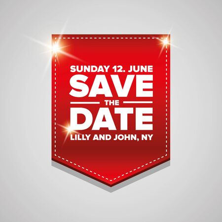 date: Save the date vector ribbon