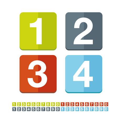 Number set vector flat design Illustration