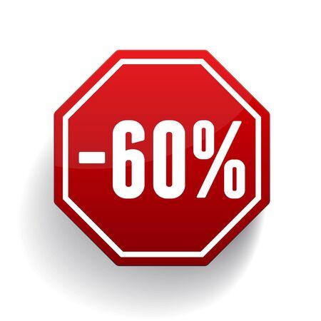 selloff: Sale percents label. Vector