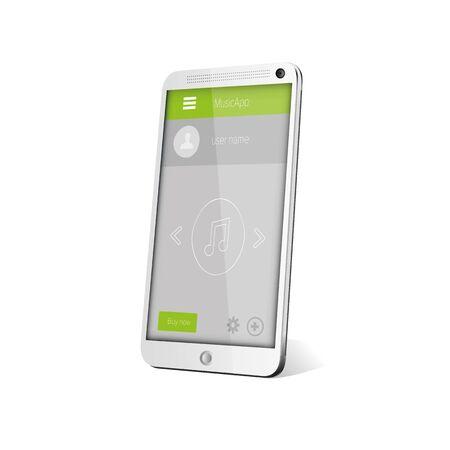 Flat Mobile UI Design on smartphone. Vector