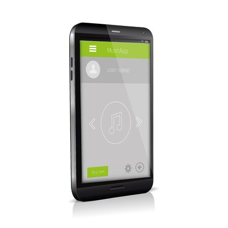 player controls: Flat Mobile UI Design on smartphone.  Illustration