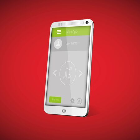 player controls: Flat Mobile UI Design on smartphone. Vector