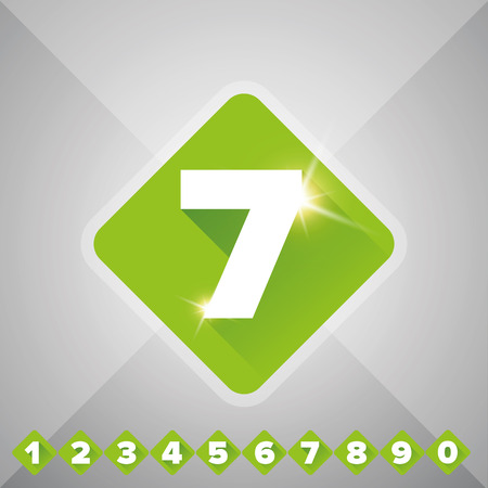 three pointer: Number vector set green - flat design