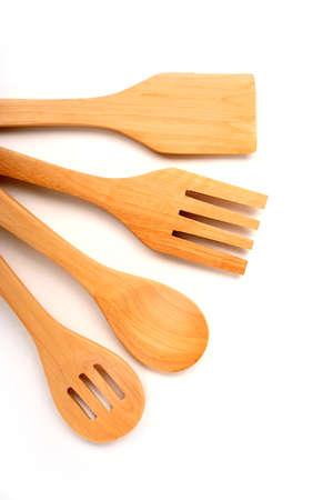 houseware: Houseware: wooden kitchen utensils, isolated on white background Stock Photo