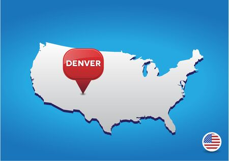 denver colorado: Denver on USA map Illustration