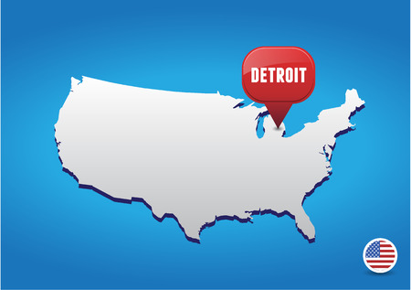 Detroit On USA Map Royalty Free Cliparts Vectors And Stock - Us map detroit
