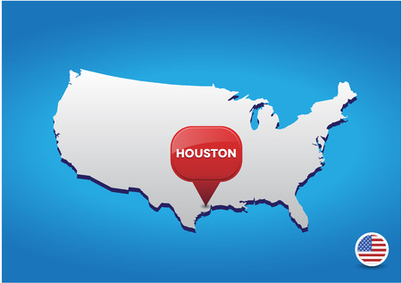 tx: Houston on USA map