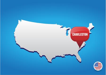 in charleston: Charleston on USA map Illustration