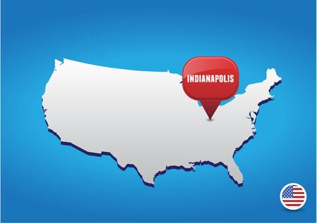 indianapolis: Indianapolis on USA map Illustration