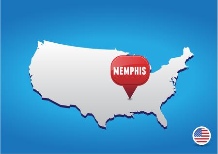 memphis: Memphis on USA map Illustration
