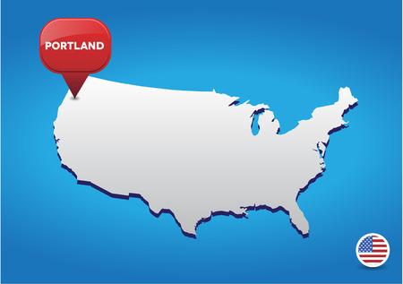 portland: Portland on USA map