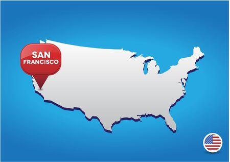 san: San Francisco on USA map