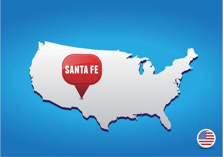 fe: Santa Fe on USA map Illustration