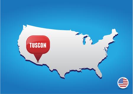 tuscon: Tuscon on USA map Illustration