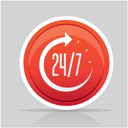 24 hours: Open around the clock, 24 hours a day icon isolated Illustration