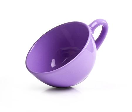 Violet mug isolated on white background Reklamní fotografie