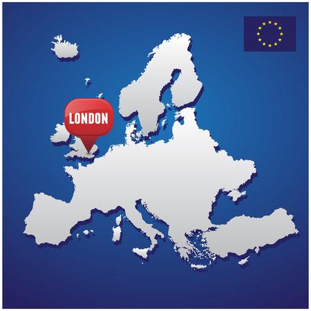 european map: London on european map and EU flag